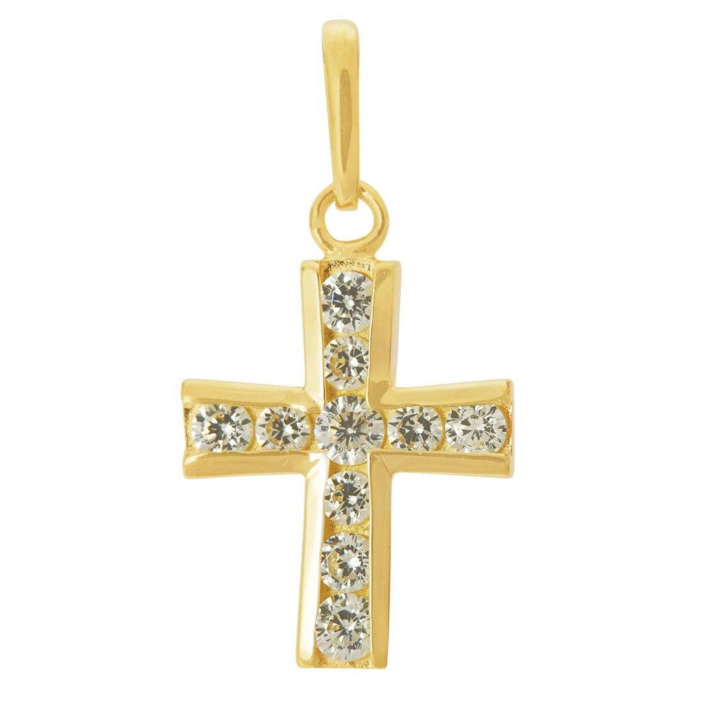 9ct Yellow Gold Small Cubic Zirconia Cross Pendant Necklaces Bevilles