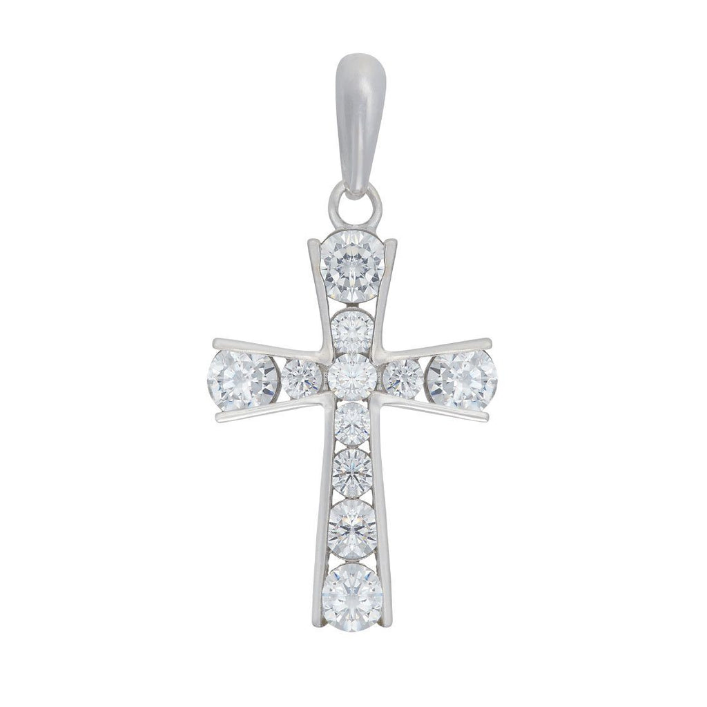 9ct White Gold Cubic Zirconia Cross Pendant Necklaces Bevilles