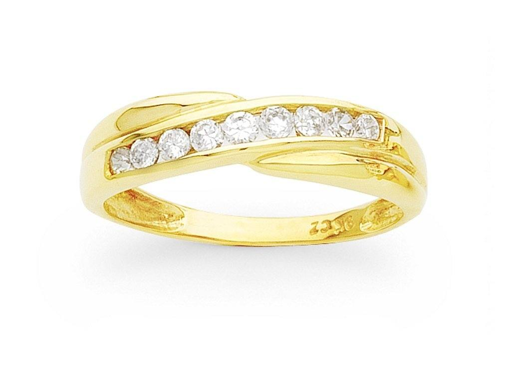 9ct Yellow Gold Channel Cross Over Cubic Zirconia Ring