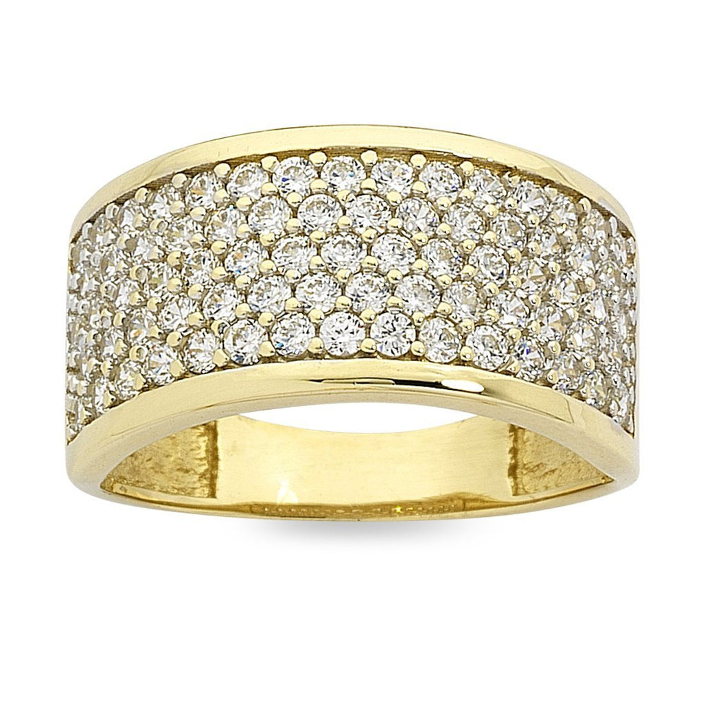 9ct Yellow Gold Cubic Zirconia Pave Ring
