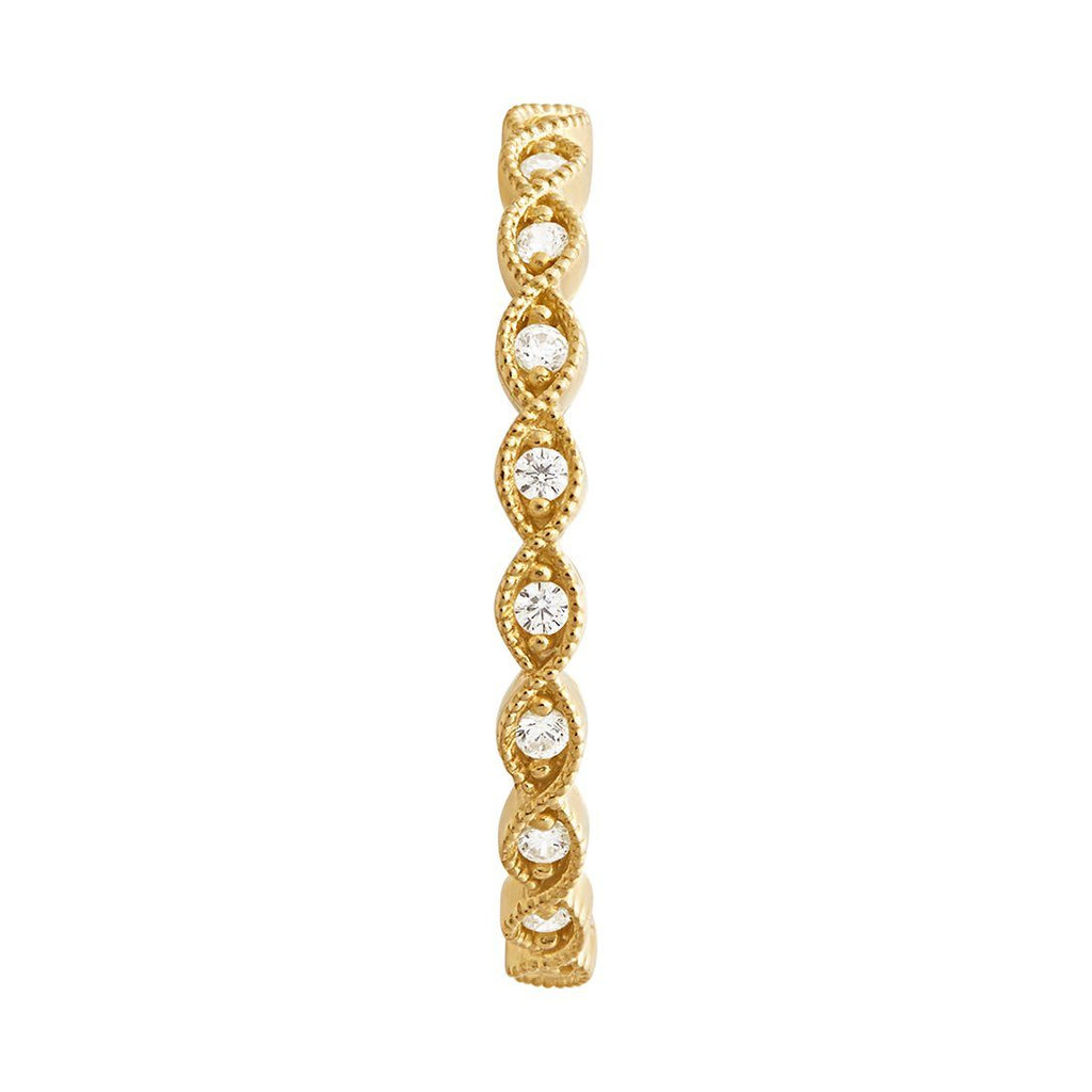 9ct Yellow Gold Cubic Zirconia Bezel Set Stackable Ring Rings Bevilles
