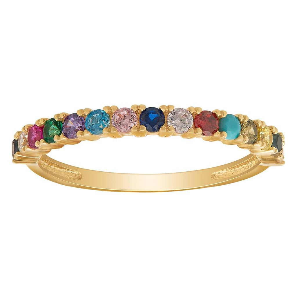 9ct Yellow Gold Rainbow Ring with Cubic Zirconias Rings Bevilles
