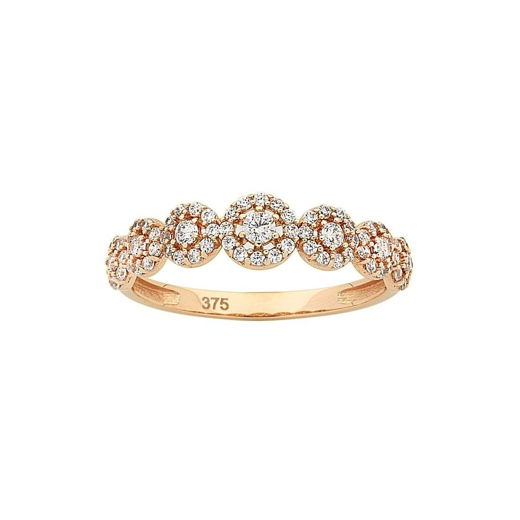 9ct Rose Gold Cubic Zirconia Multi Halo Stackable Ring