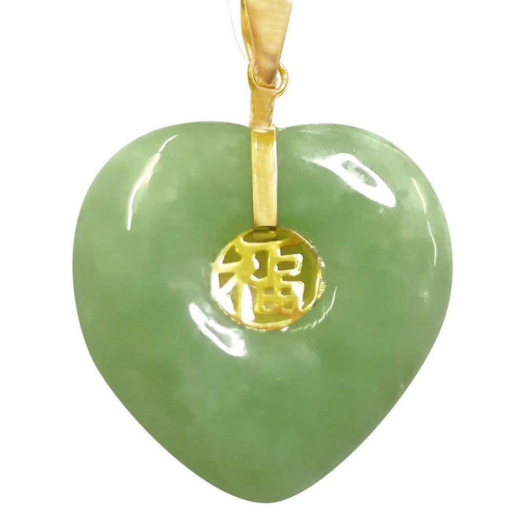 9ct Yellow Gold & Natural Jade Lucky Pendant Necklace