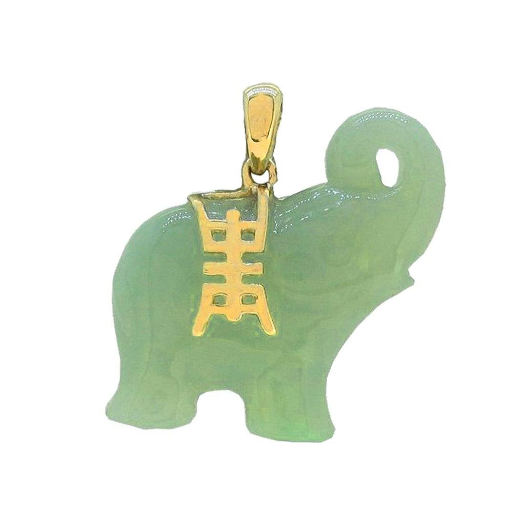 9ct Yellow Gold & Jade Elephant Pendant Necklace Necklaces Bevilles