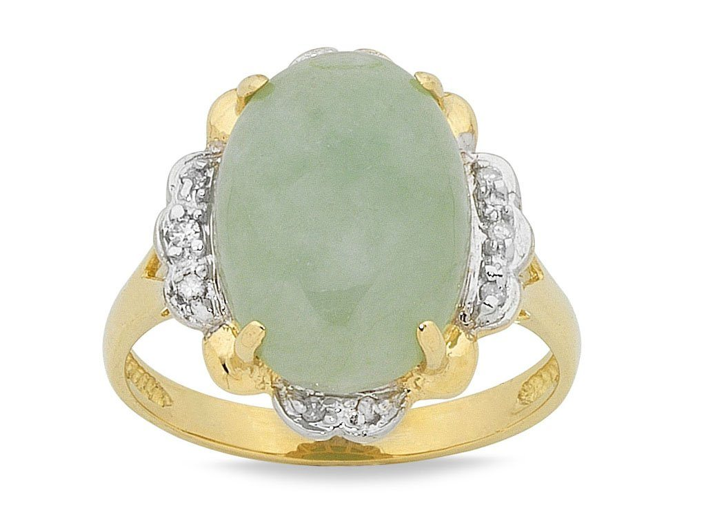 9ct Yellow Gold Natural Jade Dome Ring