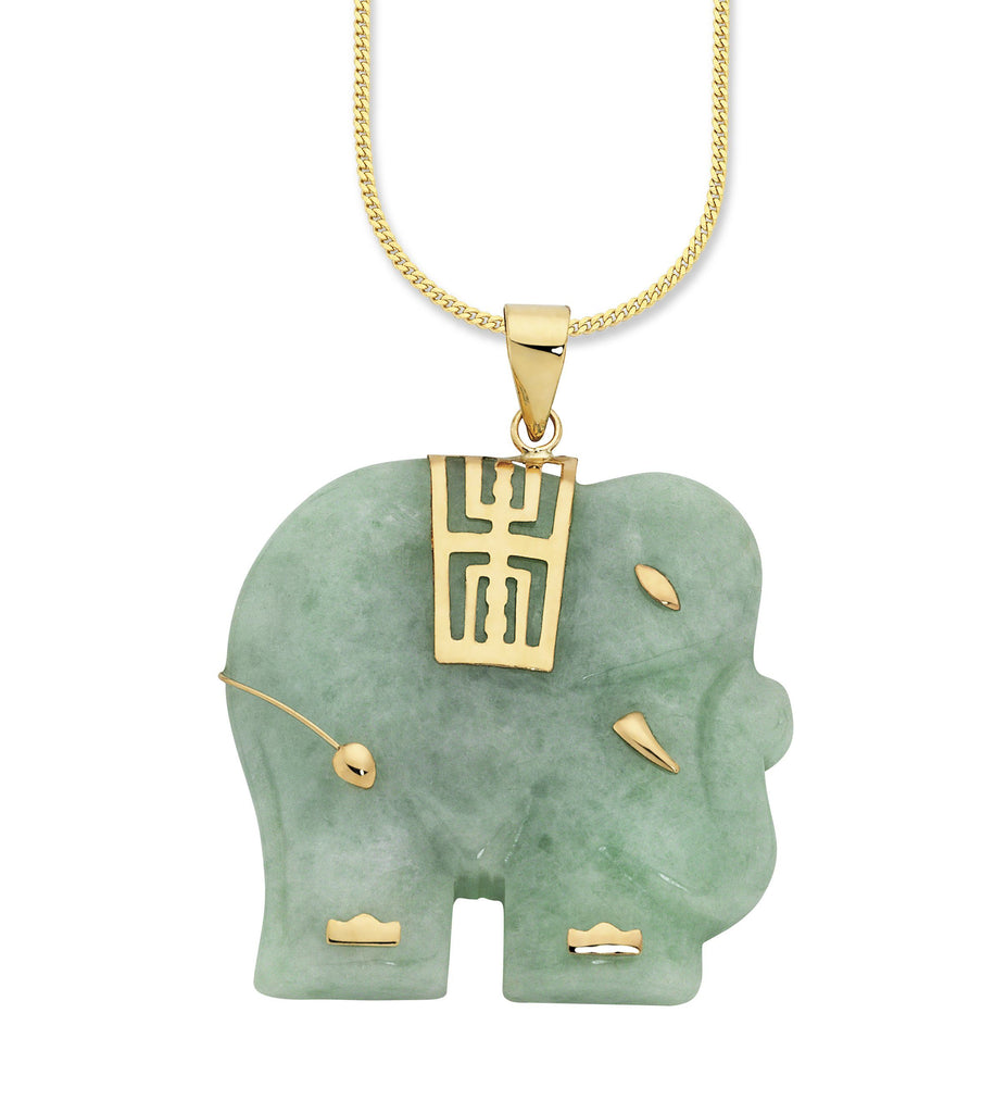 9ct Yellow Gold Natural Jade Pendant