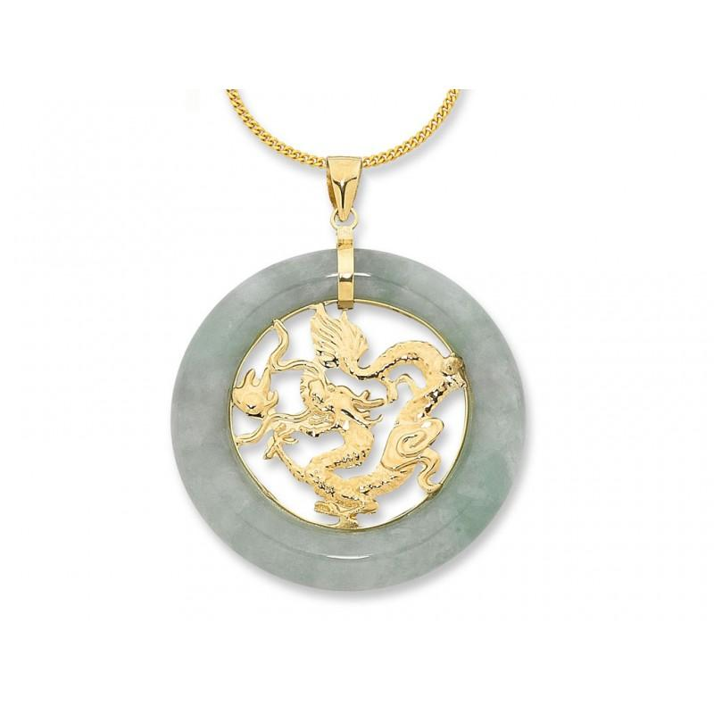 9ct Yellow Gold Jade with Dragon Centre Necklace Necklaces Bevilles