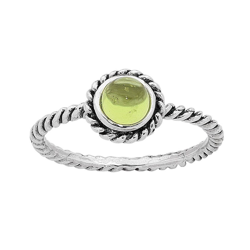 Sterling Silver Peridot August Birthstone Ring with Twisted Band Rings Bevilles