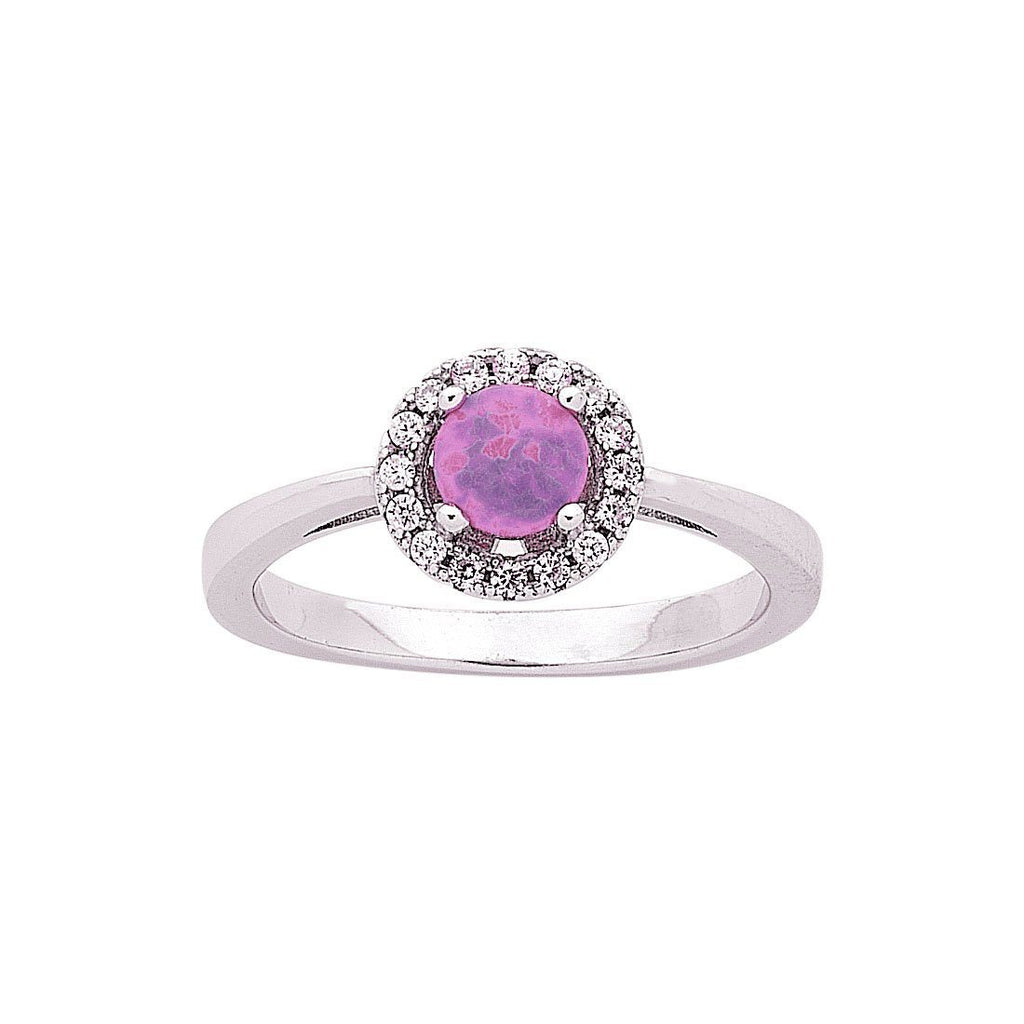 Synthetic Pink Opal Ring in Sterling Silver Rings Bevilles
