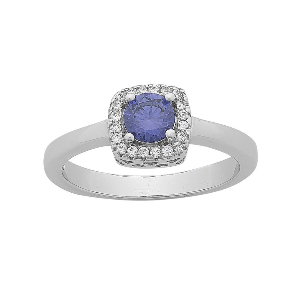 Blue Cubic Zirconia Ring with White Cubic Zirconia Halo in Sterling Silver Rings Bevilles