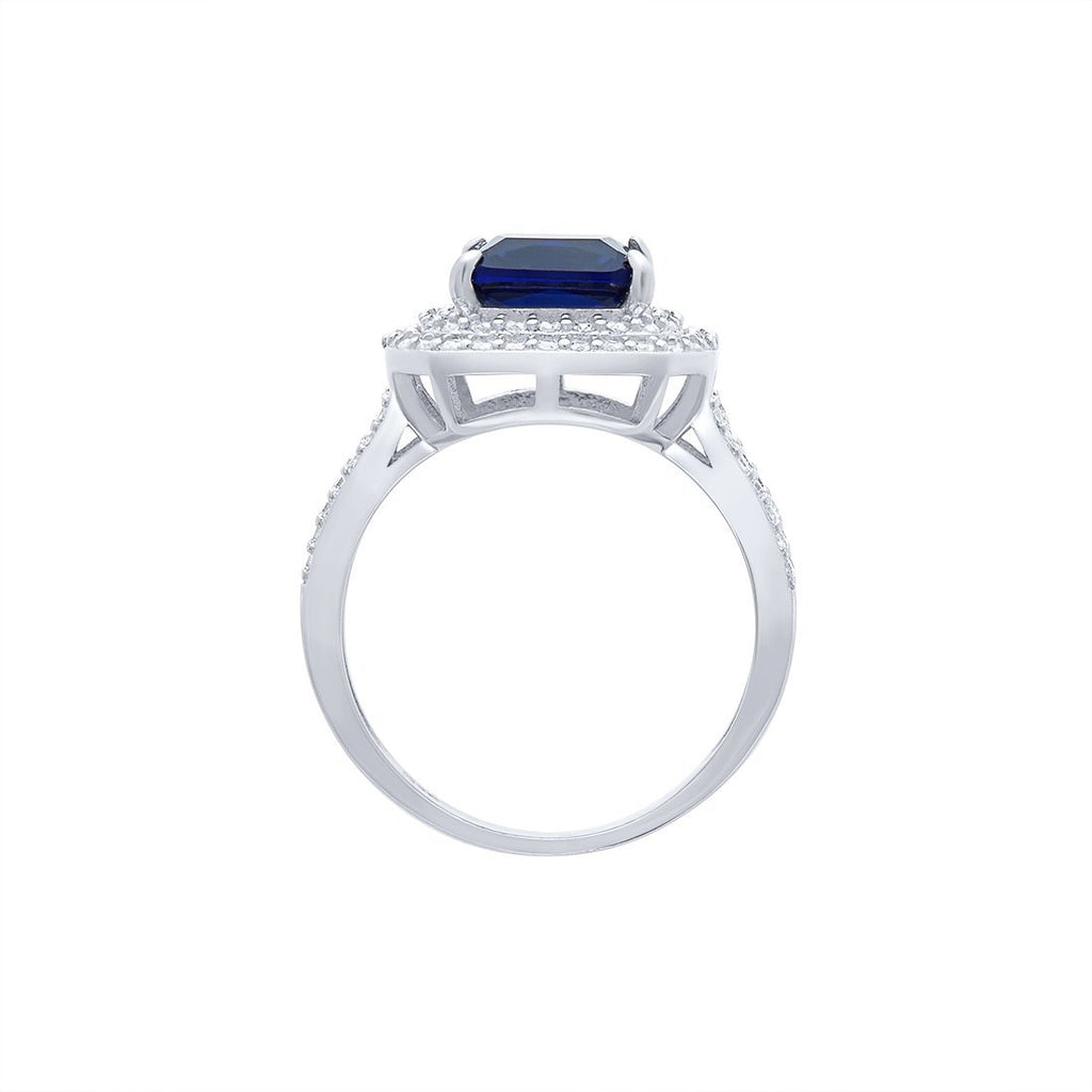 Blue Sapphire Cubic Zirconia Ring in Sterling Silver Rings Bevilles