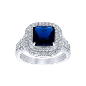 Blue Sapphire Cubic Zirconia Ring in Sterling Silver