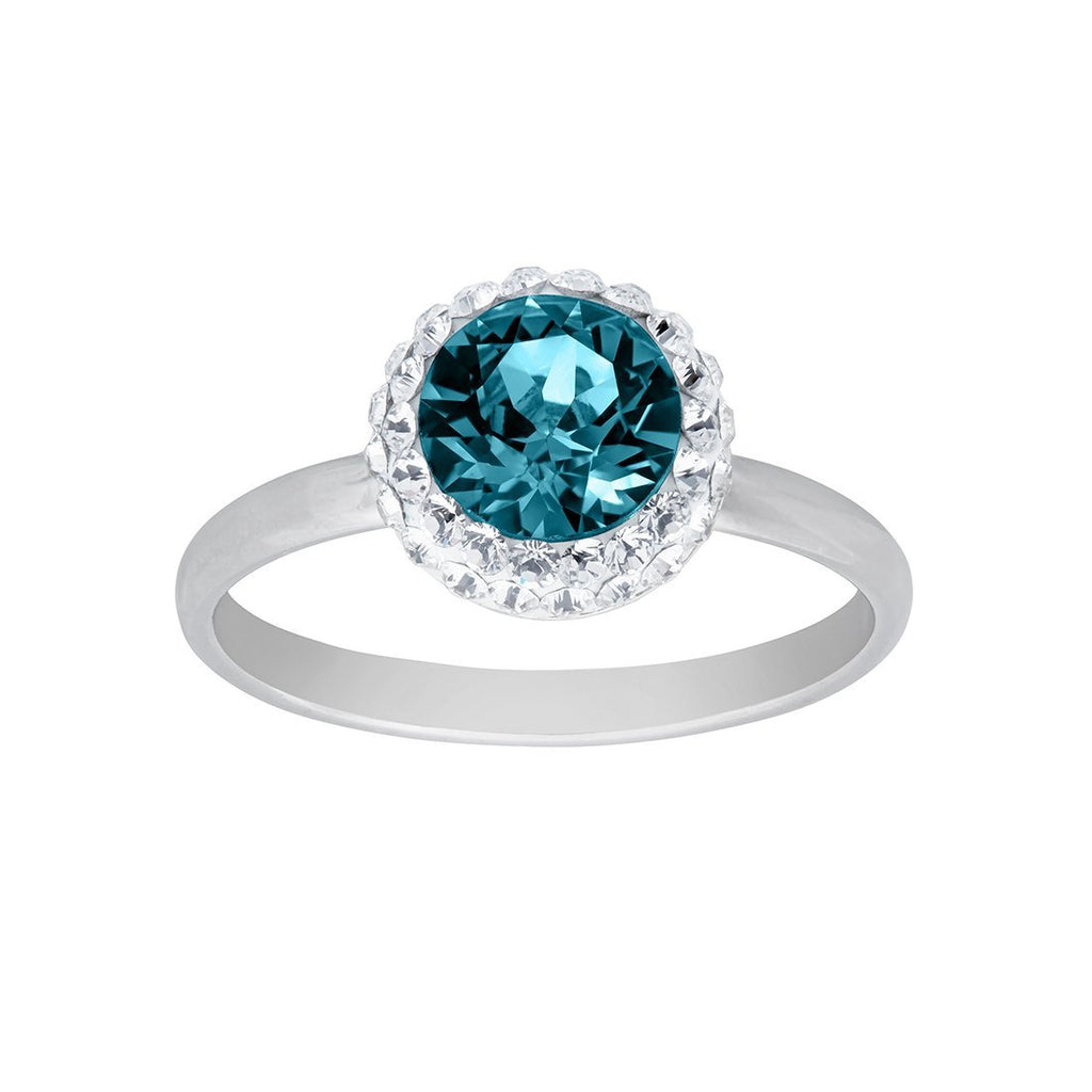 September Birthstone Sterling Silver Blue Crystal Halo Ring Rings Bevilles