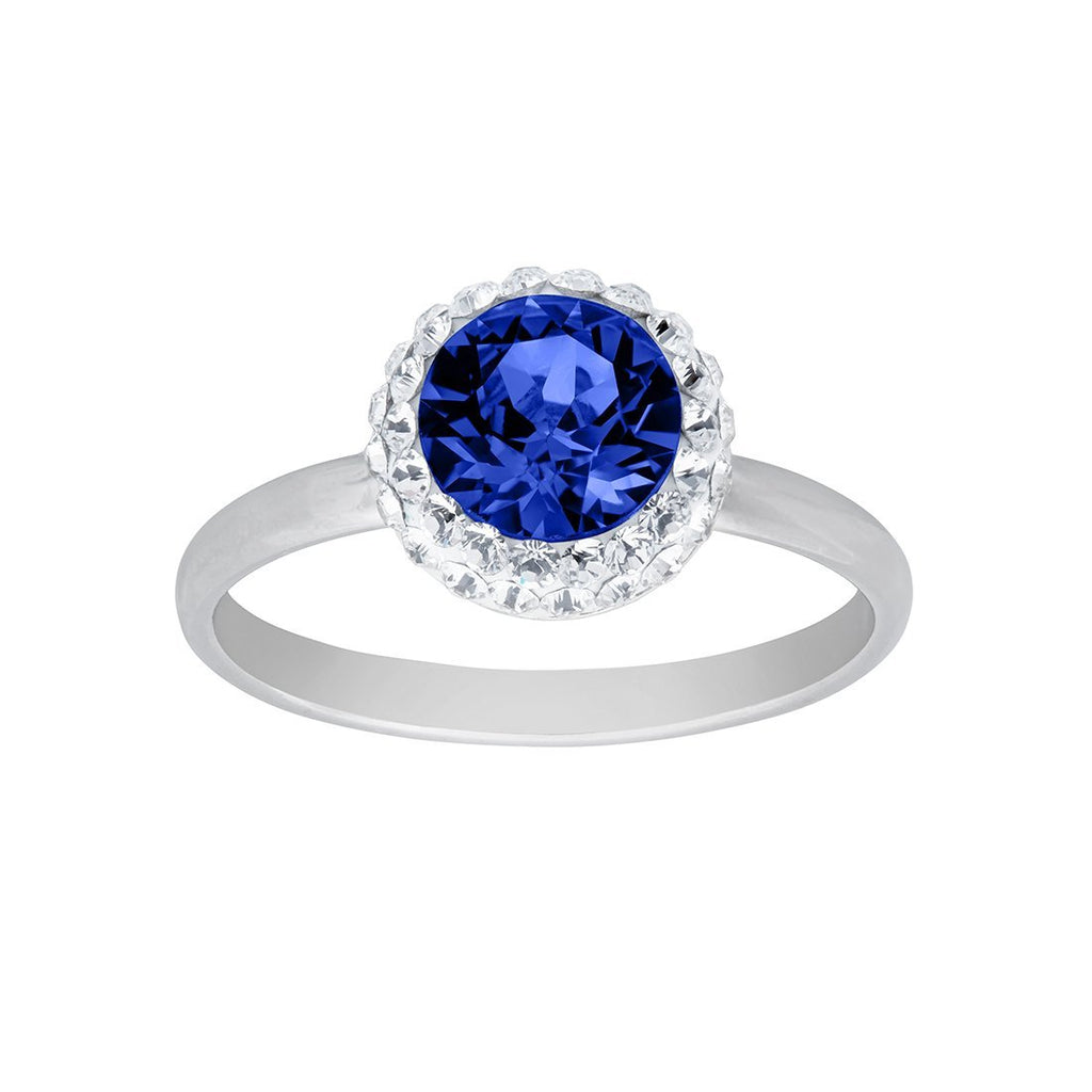 December Birthstone Sterling Silver Sapphire Blue Crystal Halo Ring Rings Bevilles