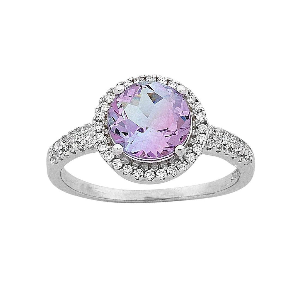 Pink and Purple Cubic Zirconia Ring in Sterling Silver Rings Bevilles