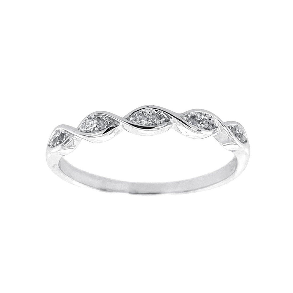 Sterling Silver Pave Twist Cubic Zirconia Ring Rings Bevilles