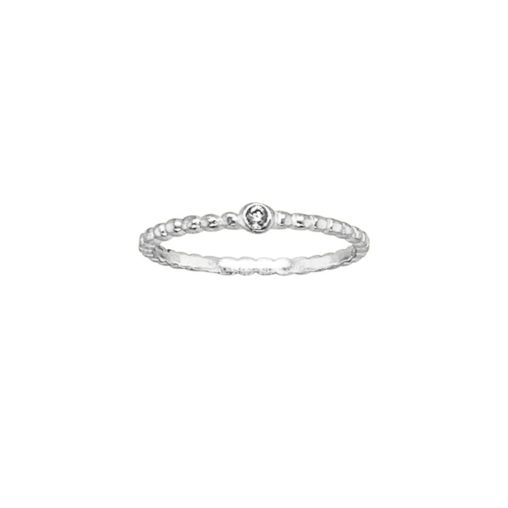 Sterling Silver Beaded Band Ring with White Cubic Zirconia