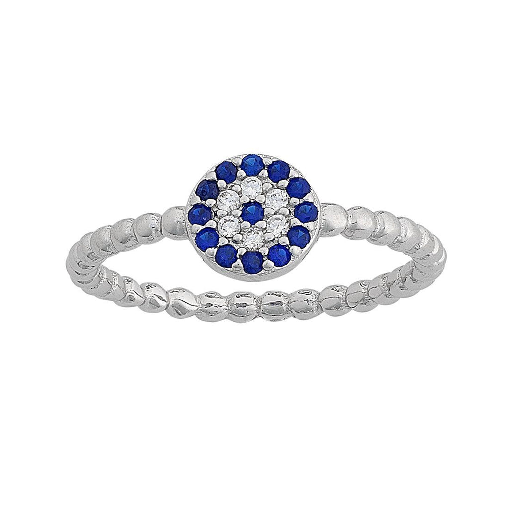 Sterling Silver Cubic Zirconia Evil Eye Ring