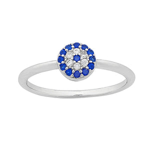 Sterling Silver Evil Eye Cubic Zirconia Ring
