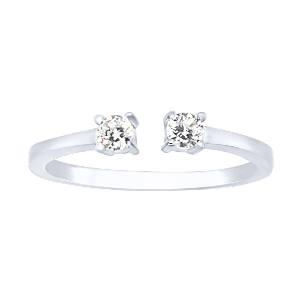 Sterling Silver Open Bypass Cubic Zirconia Ring Rings Bevilles