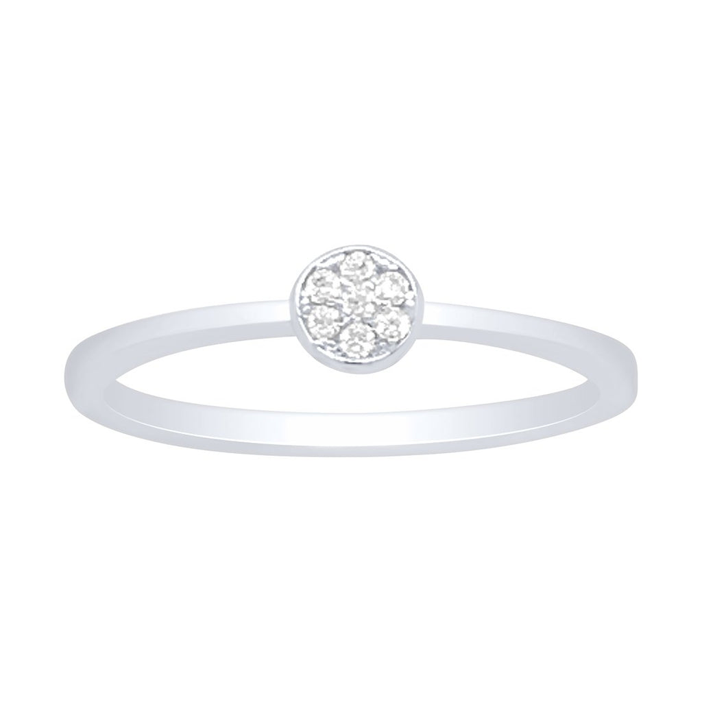 Sterling Silver Cubic Zirconia Round Pave Ring Rings Bevilles