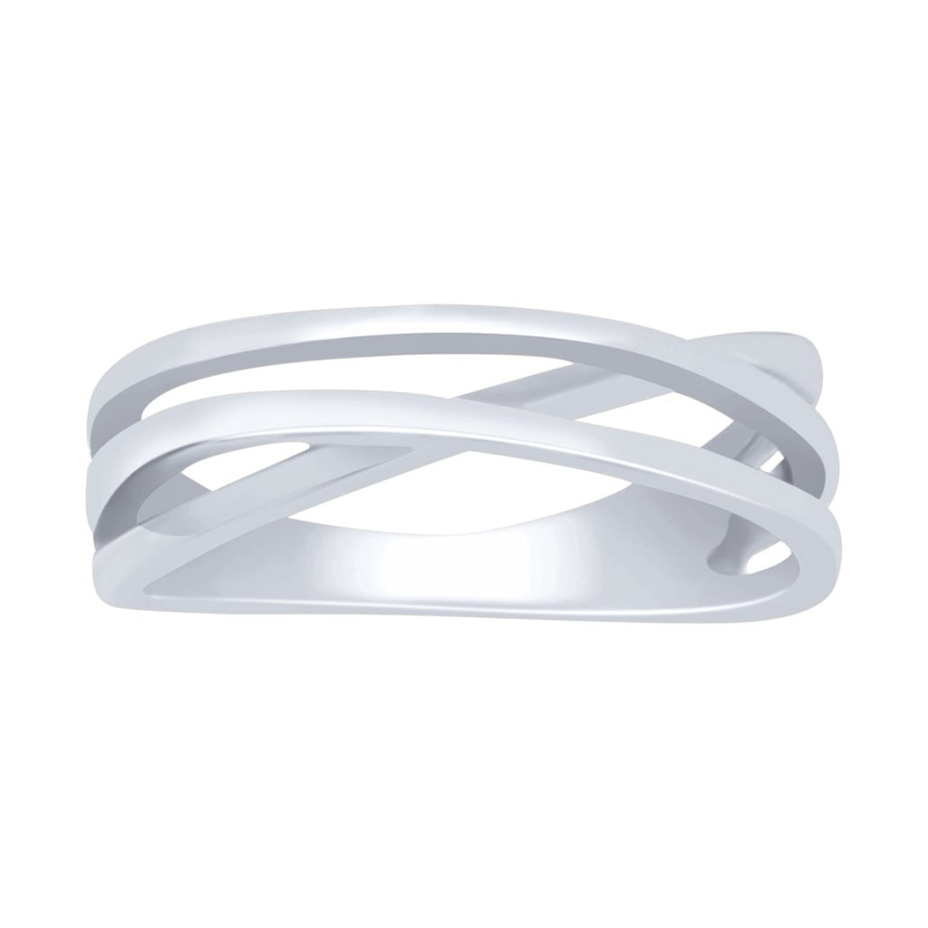 Plain Crossover Ring in Sterling Silver Rings Bevilles