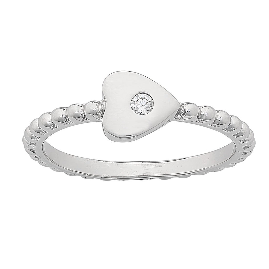 Sterling Silver Beaded Stackable Ring with White Cubic Zirconia Bevilles Jewellers