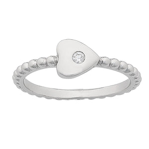 Sterling Silver Beaded Stackable Ring with White Cubic Zirconia