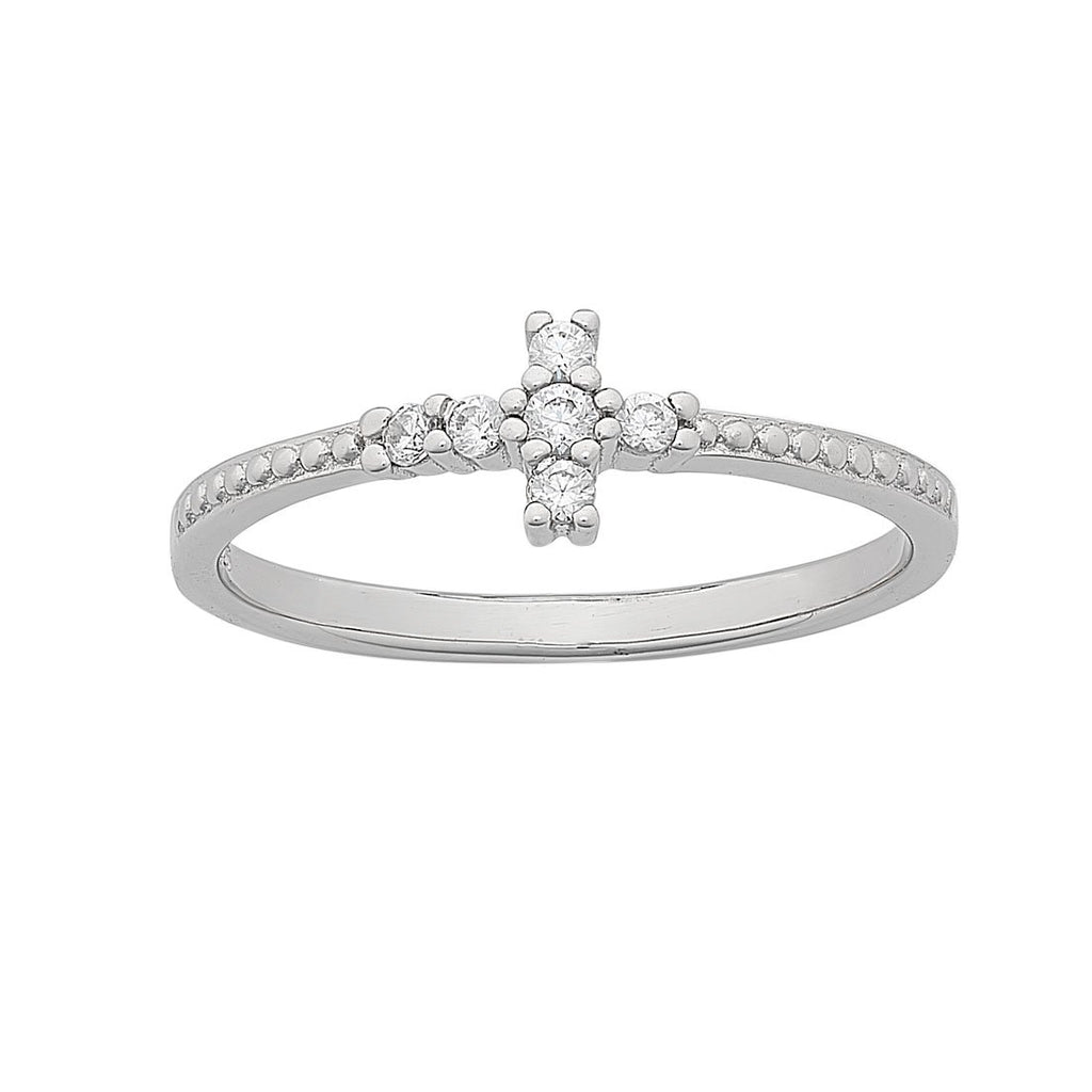 Sterling Silver beaded Cross ring with Cubic Zirconia Bevilles Jewellers