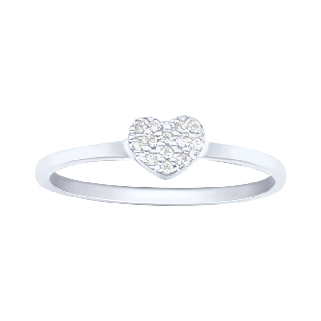 Sterling Silver Cubic Zirconia Pave Heart Ring Rings Bevilles