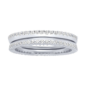 Sterling Silver Cubic Zirconia Side Set Ring