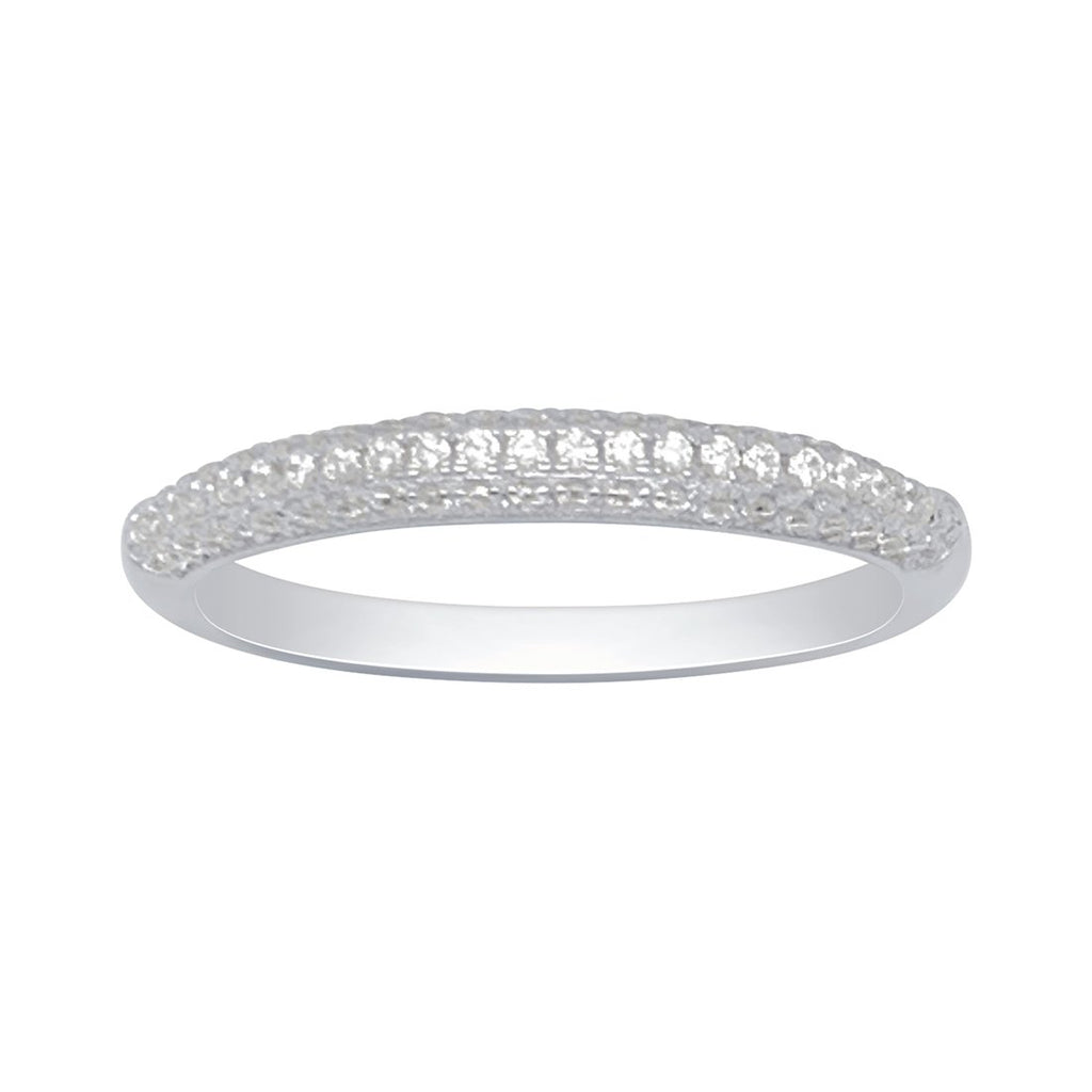 Sterling Silver Cubic Zirconia Pave Ring Rings Bevilles