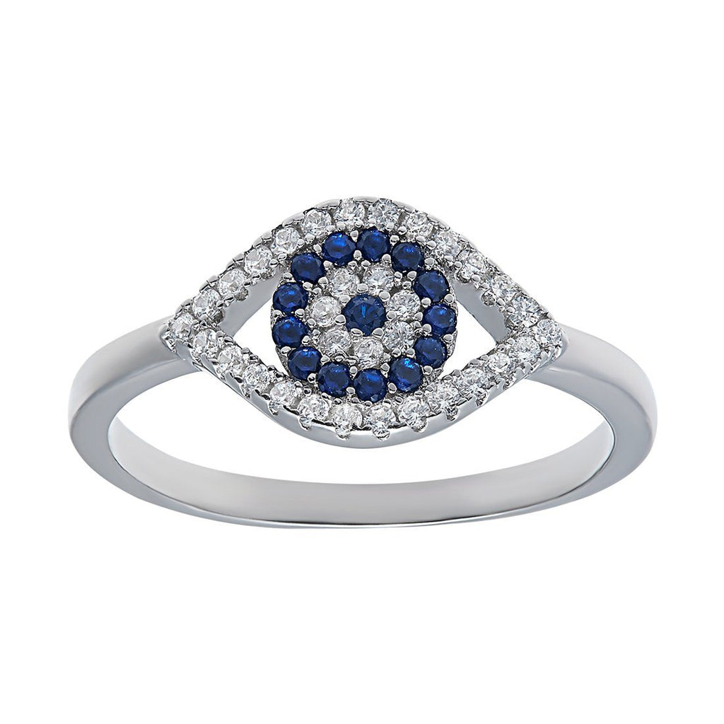 Evil Eye Ring with Cubic Zirconia in Sterling Silver Rings Bevilles