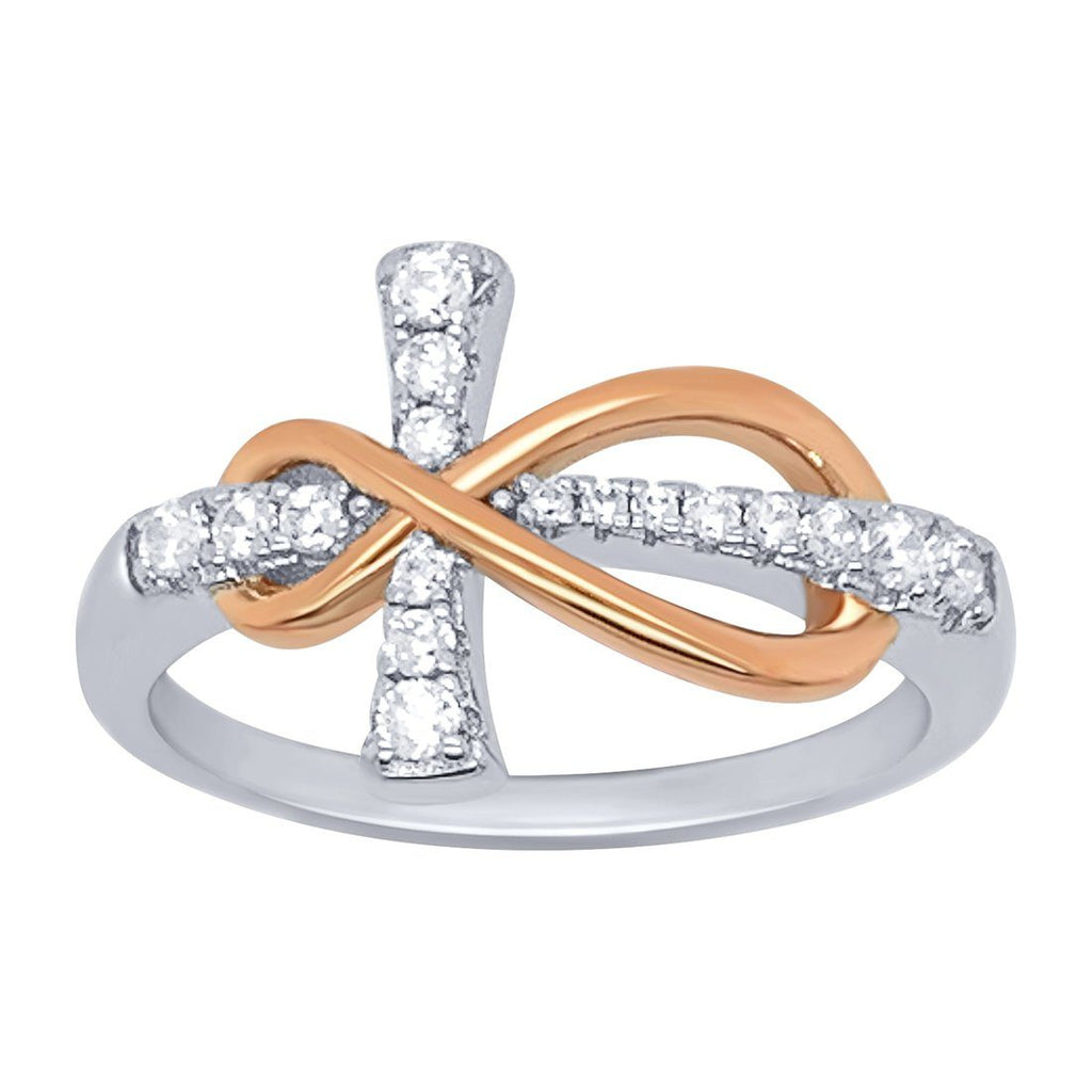 Sterling Silver Cubic Zirconia Cross and Rose Gold Tone Infinity Ring Rings Bevilles