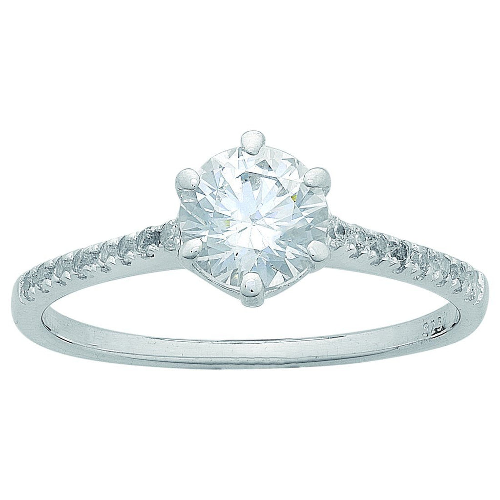 Sterling Silver Cubic Zirconia Shoulder Ring