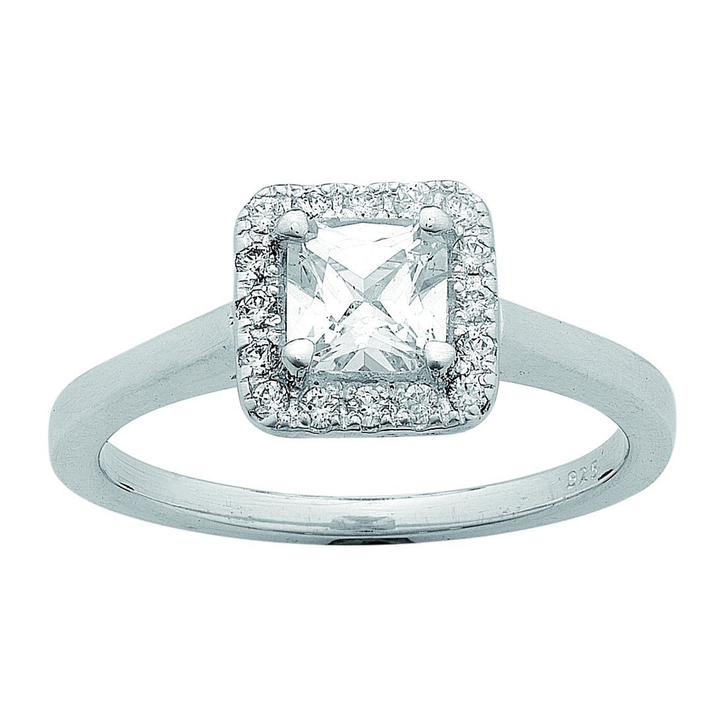 Sterling Silver Cubic Zirconia Princess Halo Surround Ring