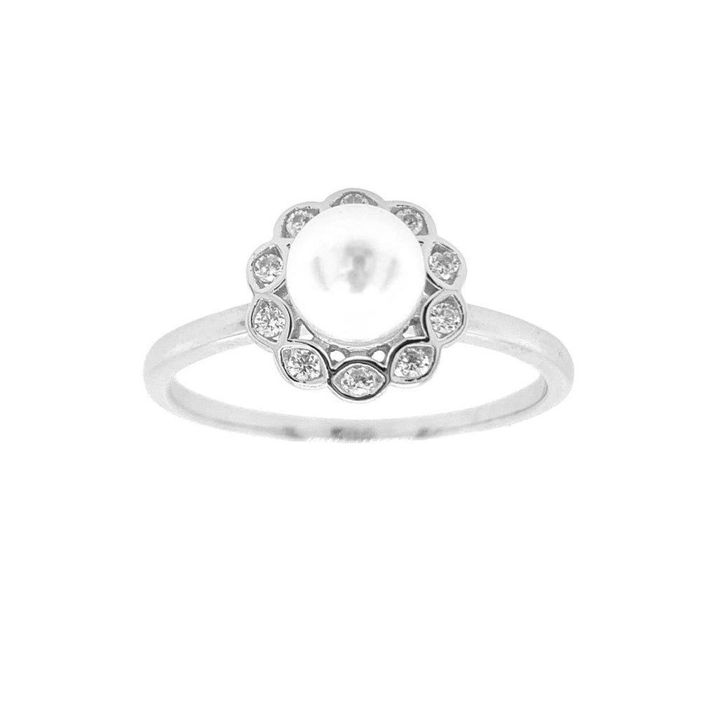 Sterling Silver Cubic Zirconia Halo Pearl Ring Rings Bevilles