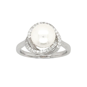 Sterling Silver Fresh Water Pearl Halo Ring