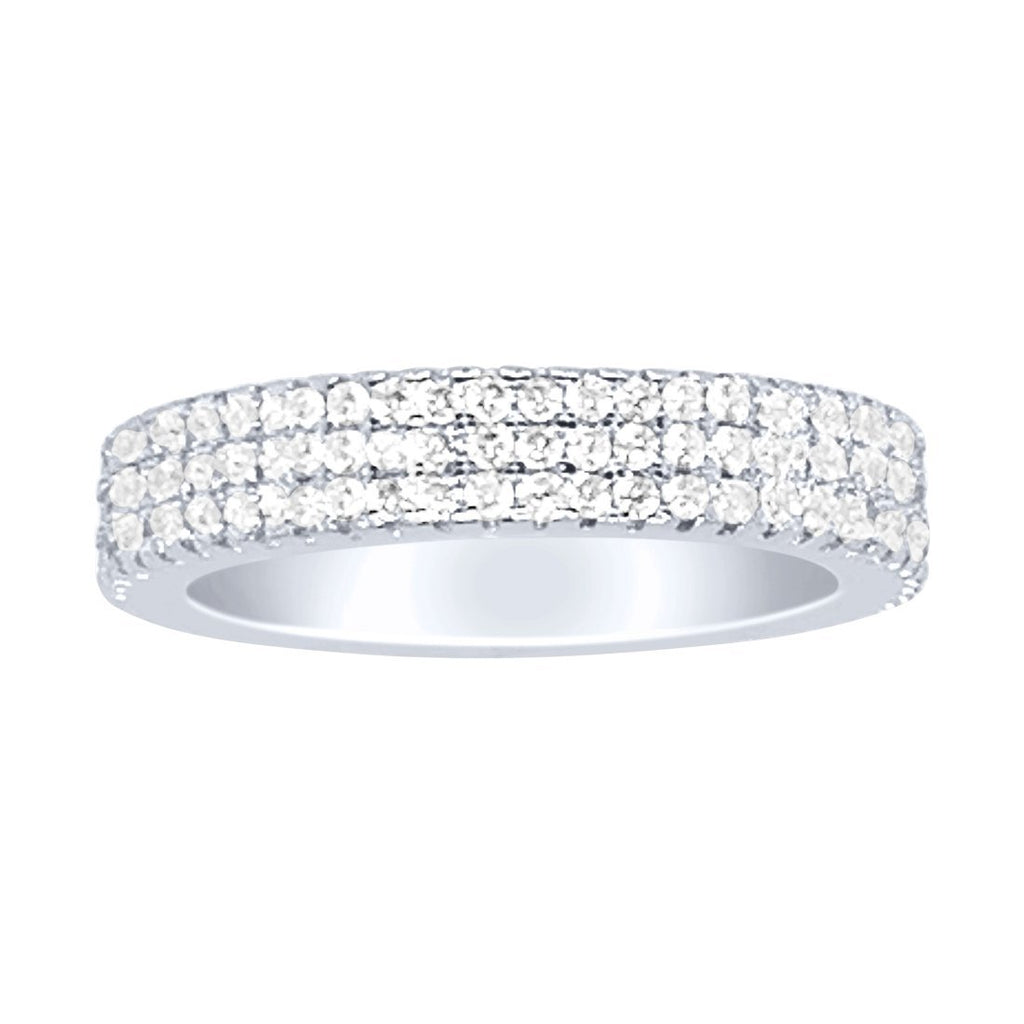 Sterling Silver and 3 Row Cubic Zirconia in Pave Setting Ring Rings Bevilles