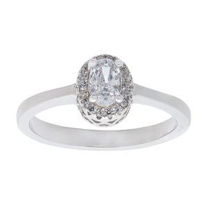 Sterling Silver Oval White Cubic Zirconia Halo Ring