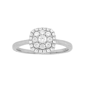 Sterling Silver Flower Square Halo Cubic Zirconia Ring
