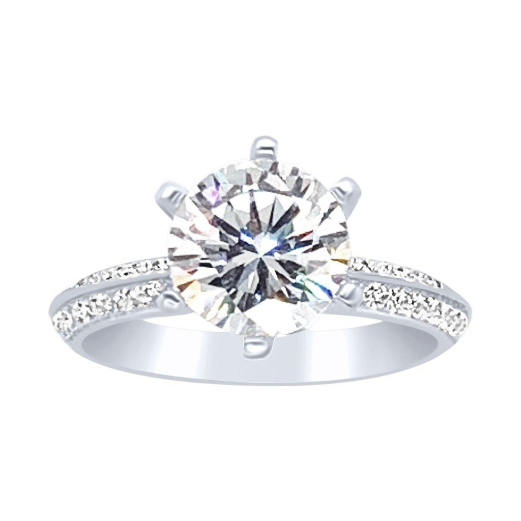 Sterling Silver and Cubic Zirconia Solitaire with Studded Band Ring Rings Bevilles