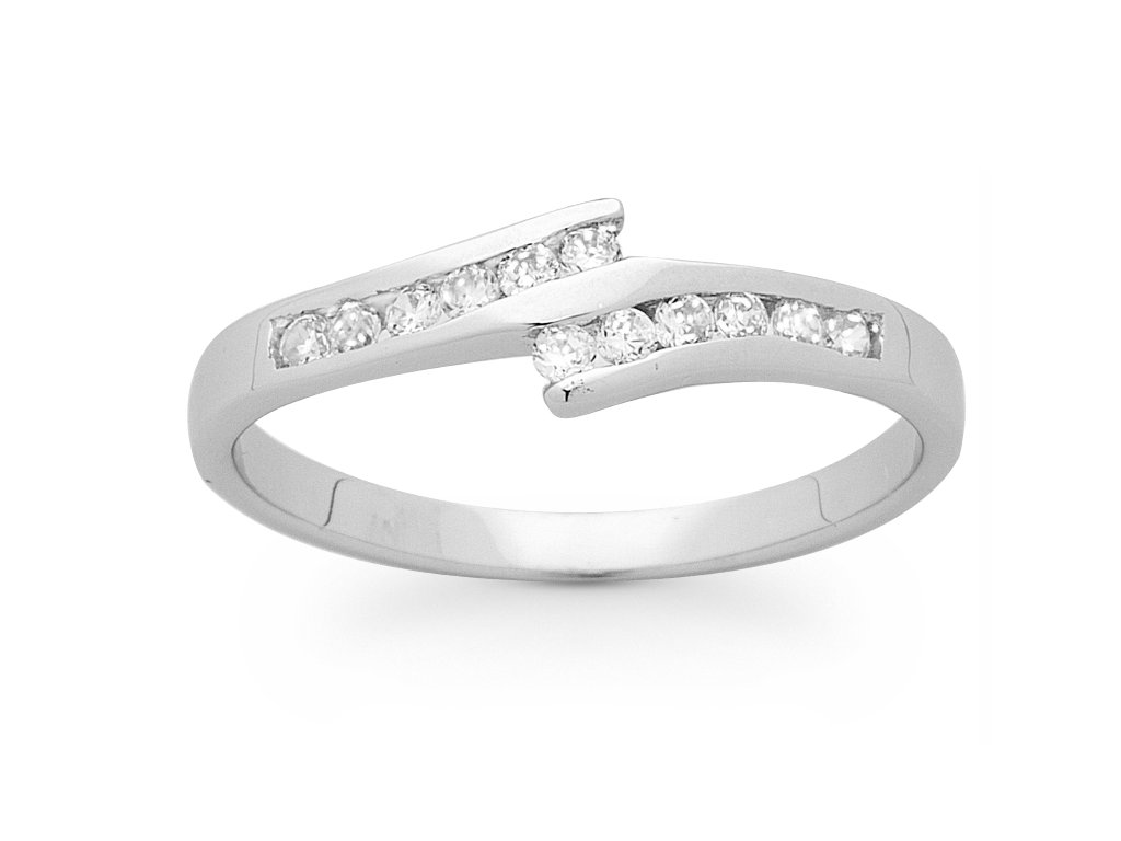 Sterling Silver Channel Set Split Sweep Ring