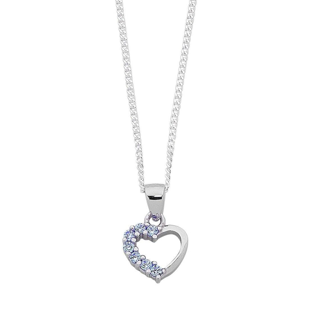 Children's Light Blue Cubic Zirconia Heart Necklace in Sterling Silver Necklaces Bevilles