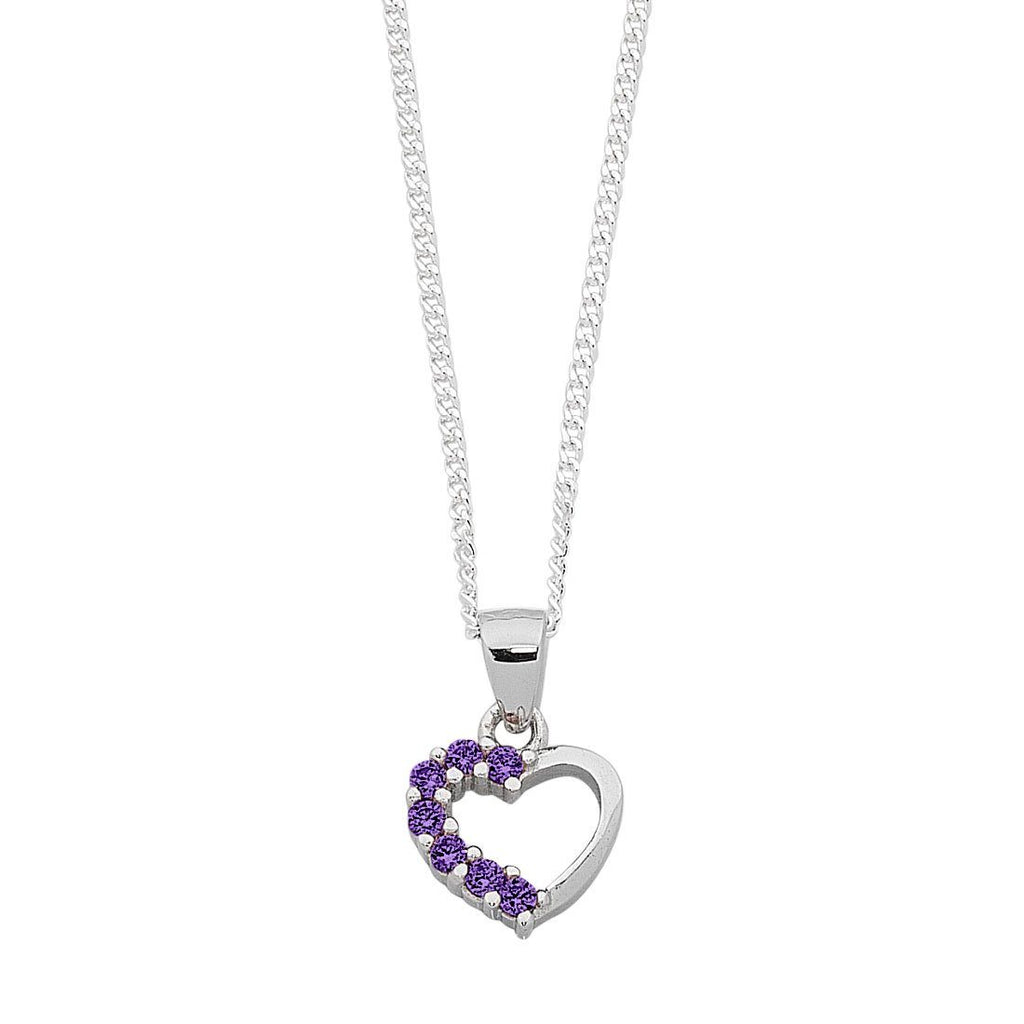 Children's Purple Cubic Zirconia Heart Necklace in Sterling Silver Necklaces Bevilles