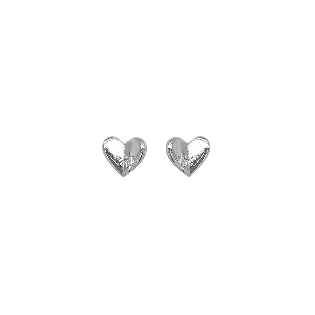 Children's Sterling Silver Heart with Cubic Zirconia Star Earrings Earrings Bevilles