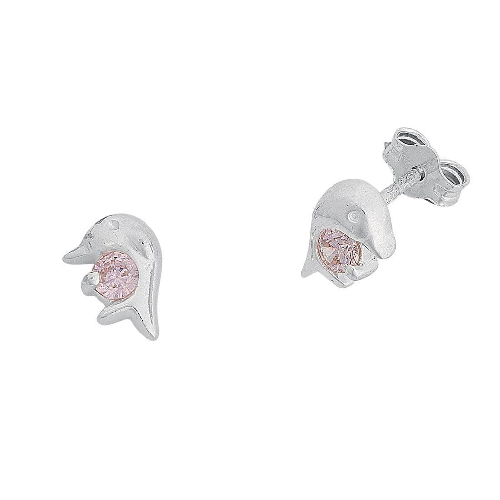 Children's Dolphin Stud Earrings in Sterling Silver