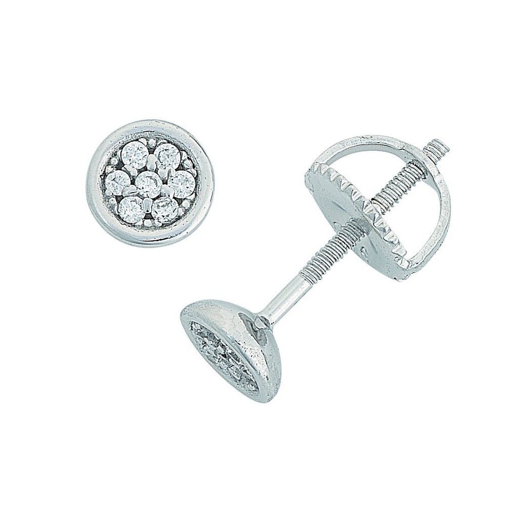 Children's Sterling Silver Pave Cubic Zirconia Bezel Earrings