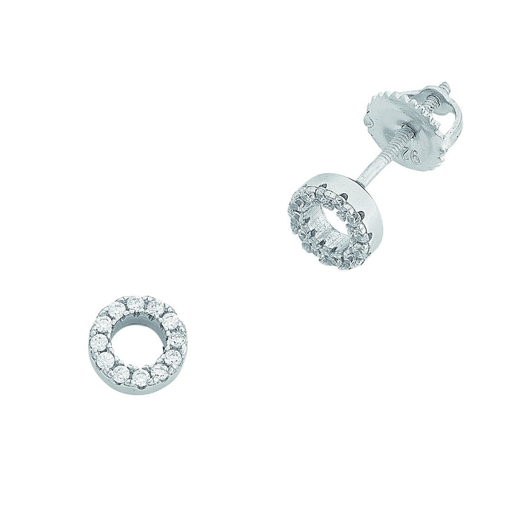 Children's Sterling Silver Cubic Zirconia Open Circle Earrings